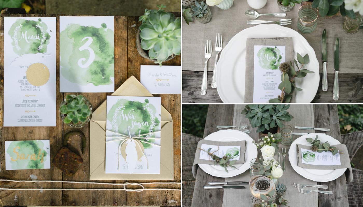 Hochzeit Papeterie oliv