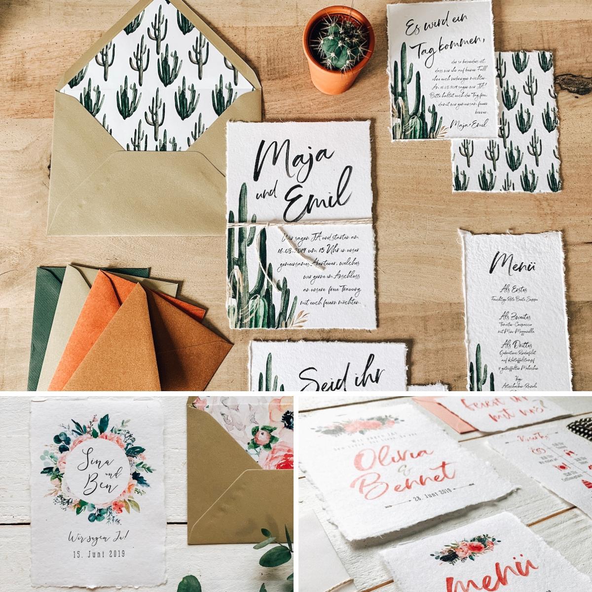 Boho Hochzeitseinladung Büttenpapier