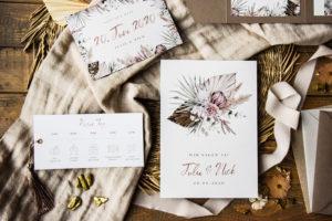 palmenblätter Einladungskarte